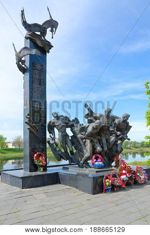 POLOTSK BELARUS - MAY 19 2017: Monument to 23rd Warriors-Guardsmen on Nizhne-Pokrovskaya Street Polotsk Belarus