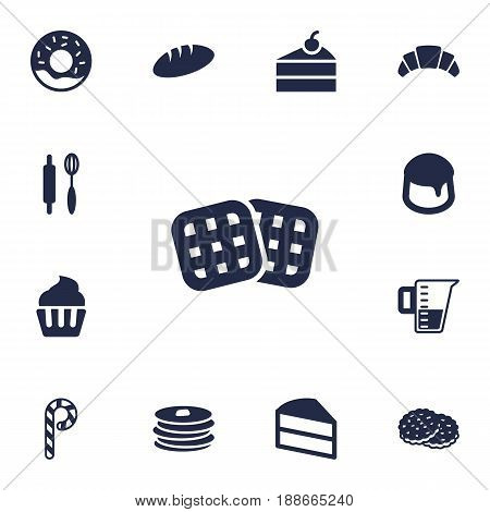 Set Of 13 Food Icons Set.Collection Of Shortcake, Doughnut, Custard And Other Elements.