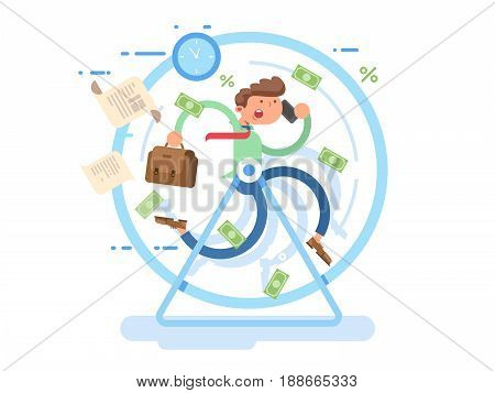 Businessman at the wheel. Business wheel, person run, hamster race metaphor, vector illustration