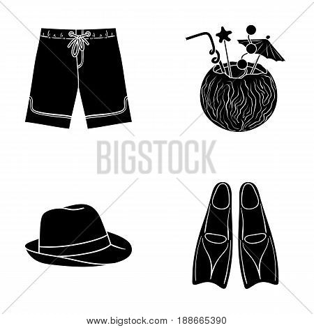 Swimming trunks, cocktail with coconut, panama and flippers. Surfing set collection icons in black style vector symbol stock illustration .