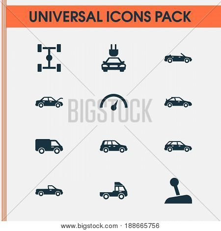 Automobile Icons Set. Collection Of Fixing, Wheelbase, Carriage And Other Elements. Also Includes Symbols Such As Speed, Chronometer, Hood.