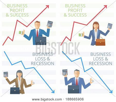 The success and recession of business. Flat vector concept illustration. Managers on the background of arrow graphs holding a bundle of paper money or a coin in one hand and calculator in another.