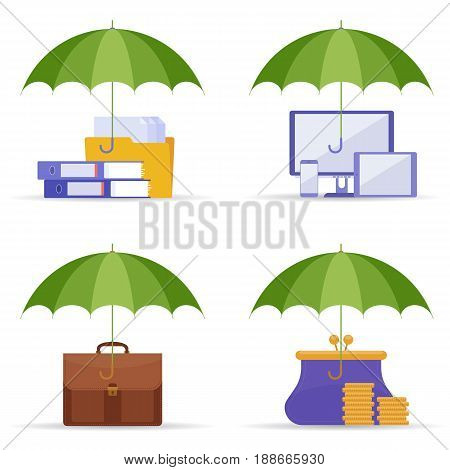 Protection of data, information, business and money. Danger and risks concept. Vector flat illustration of umbrella, computer, tablet, mobile phone, business case, files and documents, purse and coins