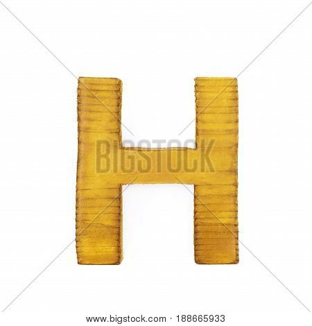 Single sawn wooden letter H symbol coated with paint isolated over the white background
