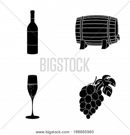 A bottle of red wine, a wine barrel, a glass of champagne, a bunch. Wine production set collection icons in black style vector symbol stock illustration .