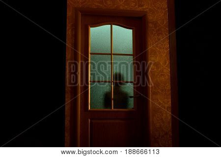 The blurred silhouette of the unknown behind the glass door. Dark room with green light. A nightmare a fear.