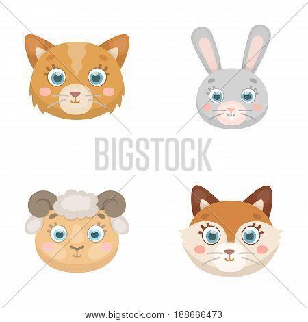 Cat, rabbit, fox, sheep. Animal s muzzle set collection icons in cartoon style vector symbol stock illustration .