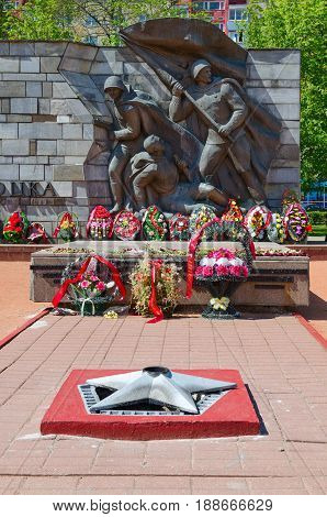 POLOTSK BELARUS - MAY 19 2017: Fragment of Monument to Liberators of Polotsk Belarus