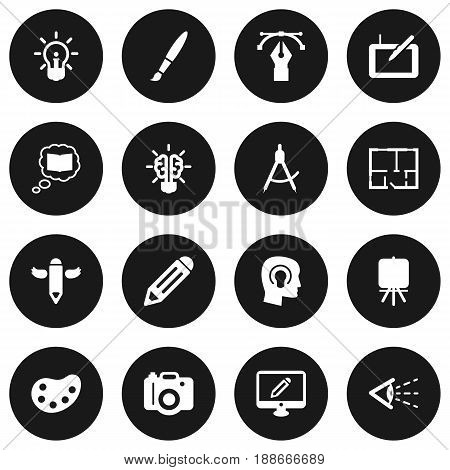 Set Of 16  Icons Set.Collection Of Idea, Wings, Writing And Other Elements.