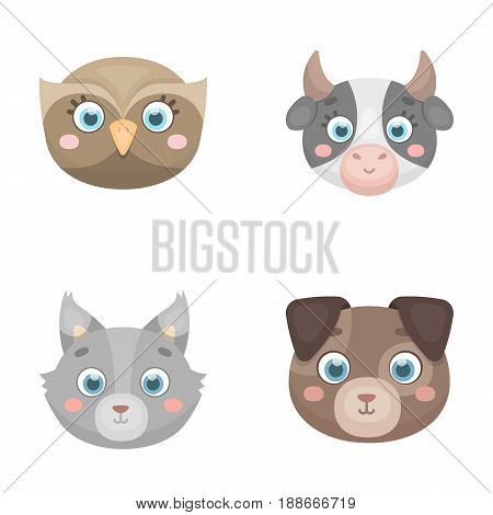 Owl, cow, wolf, dog. Animal s muzzle set collection icons in cartoon style vector symbol stock illustration .