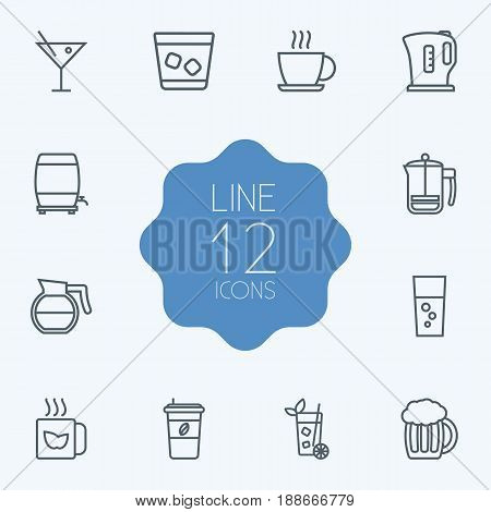 Set Of 12  Outline Icons Set.Collection Of Green, Fizzy Water, Hot Drink And Other Elements.