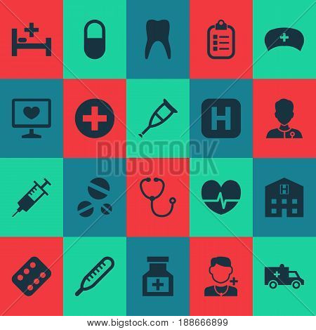 Medicine Icons Set. Collection Of Retreat, Device, Injection And Other Elements. Also Includes Symbols Such As Illness, Instrument, Healer.