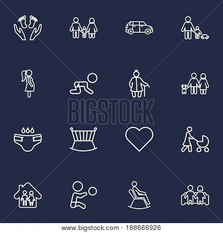 Set Of 16 Family Outline Icons Set.Collection Of Care, Grangmother, Couple And Other Elements.