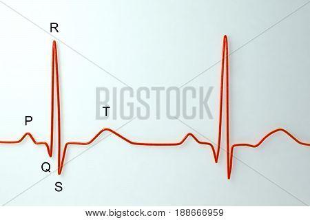 Electrocardiogram with labels on light background. Medical background, 3D illustration