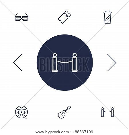 Set Of 6 Entertainment Outline Icons Set.Collection Of Film Role, Ticket, Barrier Rope And Other Elements.