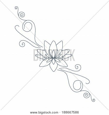 Lotus flower for tatoo, for logo design stock vector illustration, thin black line on white
