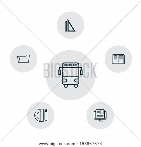 Education Icons Set. Collection Of Opened Book, Document Case, E-Study And Other Elements. Also Includes Symbols Such As Drawing, Document, Literature.