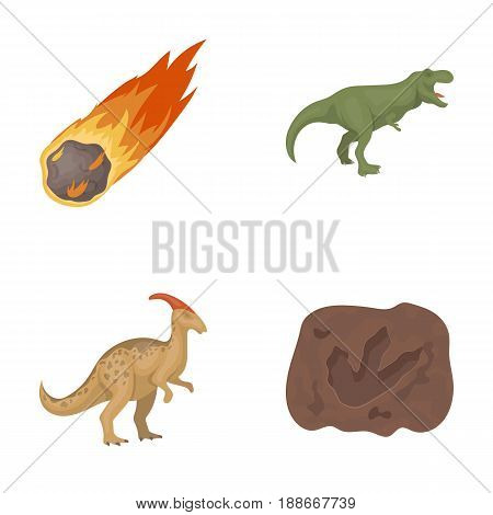 A falling meteorite, parasaurolophus, tyrannosaurus, an imprint of a dinosaur s foot. The dinosaur and prehistoric period set collection icons in cartoon style vector symbol stock illustration .