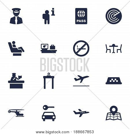Set Of 16 Airplane Icons Set.Collection Of Forbidden, Vip, Passport And Other Elements.
