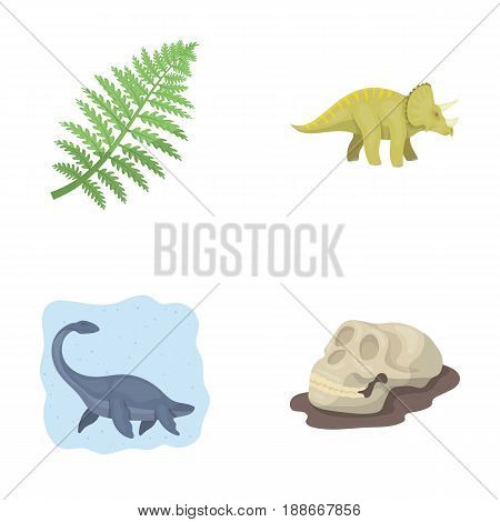 Sea dinosaur, triceratops, prehistoric plant, human skull. Dinosaur and prehistoric period set collection icons in cartoon style vector symbol stock illustration .
