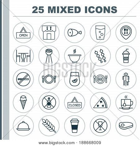 Food Icons Set. Collection Of Fresh Dining, Dining Room, Restroom And Other Elements. Also Includes Symbols Such As Bbq, Restrict, Cafe.