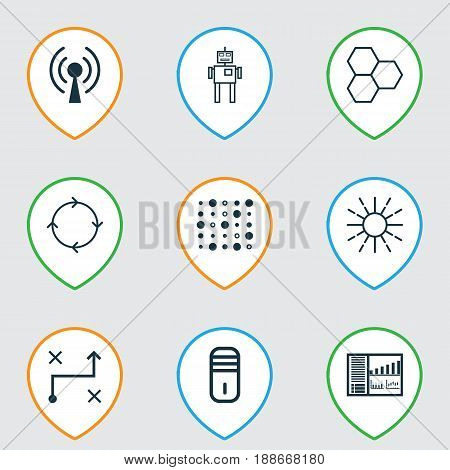 Artificial Intelligence Icons Set. Collection Of Mainframe, Radio Waves, Solution And Other Elements. Also Includes Symbols Such As Information, Microprocessor, Machine.