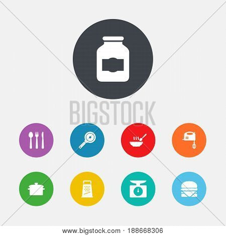 Set Of 9 Kitchen Icons Set.Collection Of Jar , Sandwich, Non-Stick Elements.