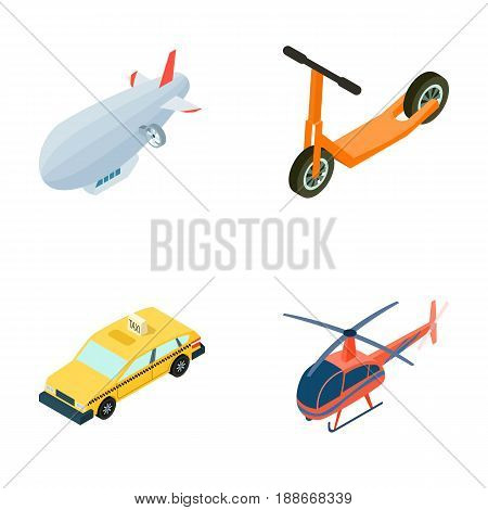 A dirigible, a children s scooter, a taxi, a helicopter.Transport set collection icons in cartoon style vector symbol stock illustration .
