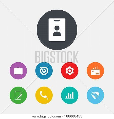 Set Of 9 Business Icons Set.Collection Of Suitcase, Telephone, Message And Other Elements.