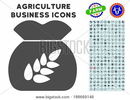 Grain Harvest gray icon with agriculture business icon collection. Vector illustration style is a flat iconic symbol. Agriculture icons are rounded with blue circles.