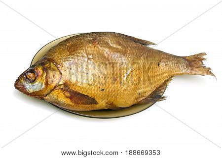 Smoked river bream isolated on white background. Horizontal photo.