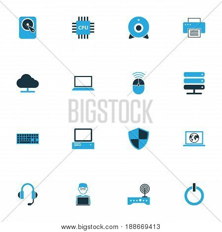 Hardware Colorful Icons Set. Collection Of Notebook, Print, Camera And Other Elements. Also Includes Symbols Such As Microprocessor, Computer, Press.