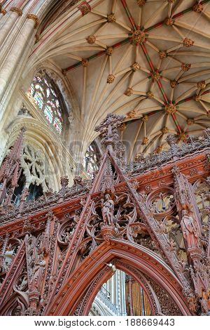 ELY, UK - MAY 26, 2017: The interior of the Cathedral - detail of the entrance to the Choir with the ceiling in the background