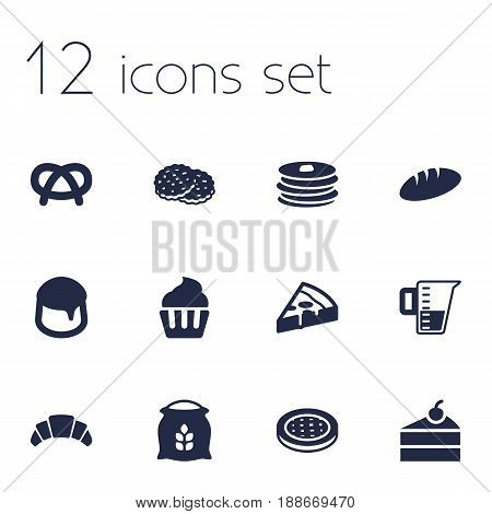 Set Of 12 Cooking Icons Set.Collection Of Crepe, Sack, Loaf And Other Elements.