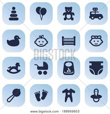 Set Of 16 Kid Icons Set.Collection Of Pram, Equine, Maraca And Other Elements.