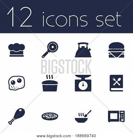 Set Of 12 Cooking Icons Set.Collection Of Poultry Foot, Pepperoni, Cooking Instruction And Other Elements.