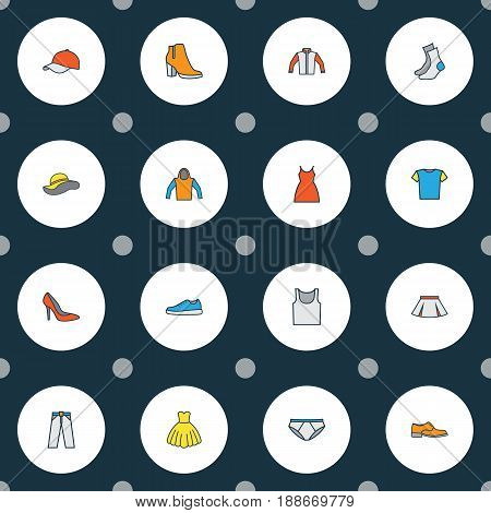 Dress Colorful Outline Icons Set. Collection Of Elegant Headgear, Skirt, Man Footwear And Other Elements. Also Includes Symbols Such As Skirt, Breeches, Feminine.