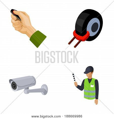 Car alarm, wheel rim, security camera, parking assistant. Parking zone set collection icons in cartoon style vector symbol stock illustration .