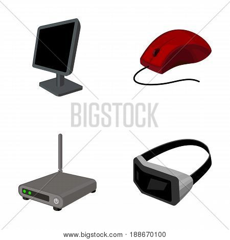 Monitor, mouse and other equipment. Personal computer set collection icons in cartoon style vector symbol stock illustration .