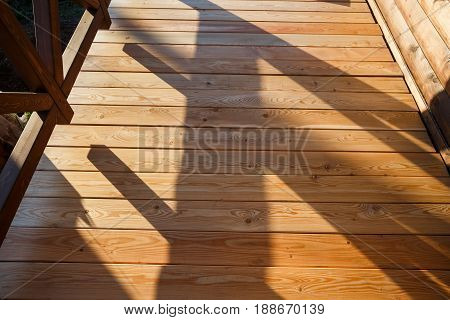A new wooden, timber deck being constructed.