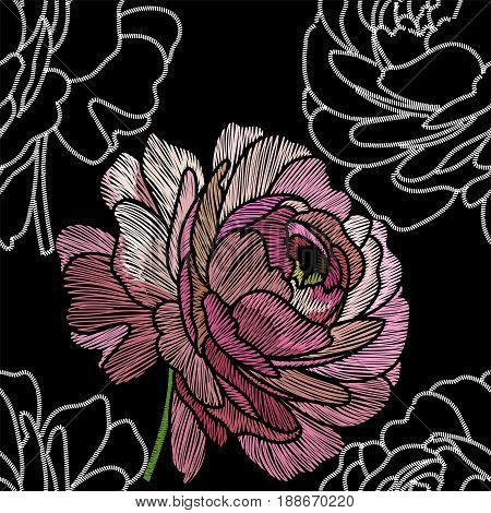 Embroidery rose seamless pattern, seamless fabric rose, fashion embroidery rose, pattern embroidery seamless rose, embroidery fashion seamless rose. Vector.