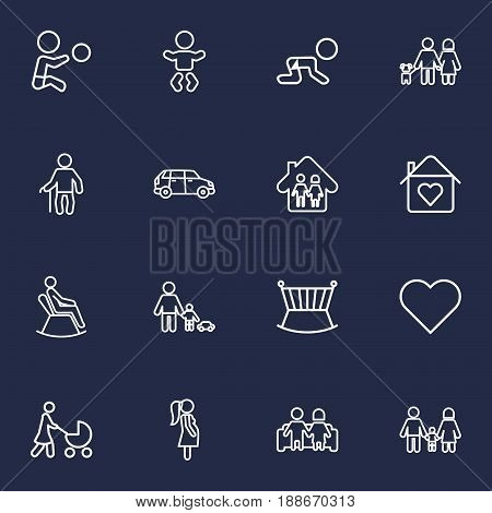 Set Of 16 Relatives Outline Icons Set.Collection Of Stroller, Couple, Pregnant Woman And Other Elements.