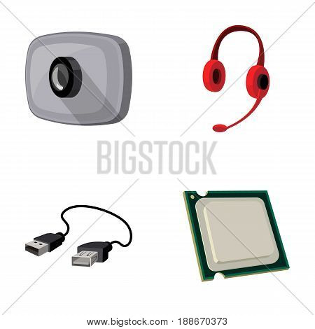 Webcam, headphones, USB cable, processor. Personal computer set collection icons in cartoon style vector symbol stock illustration .