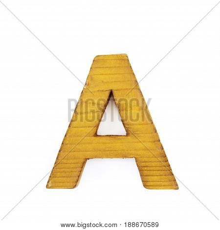 Single sawn wooden letter A symbol coated with paint isolated over the white background