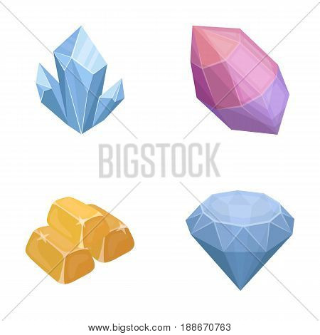Crystals, minerals, gold bars. Precious minerals and jeweler set collection icons in cartoon style vector symbol stock illustration .