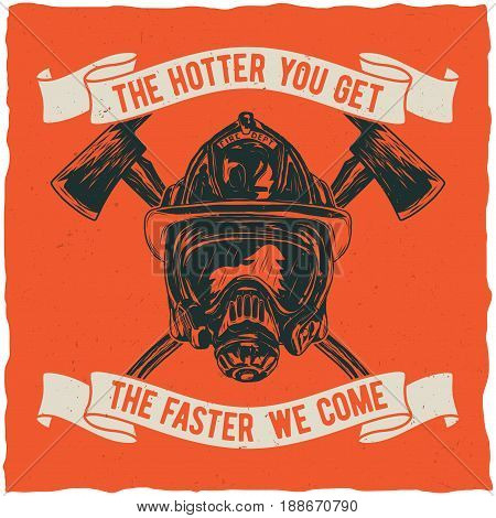 Firefighter t-shirt label design with illustration of helmet with Crossed Axes