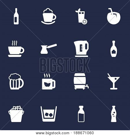 Set Of 16 Drinks Icons Set.Collection Of Cup, Alcohol, Electric Teapot And Other Elements.