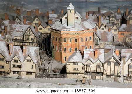 UK London - 09 April 2015 : Mock-up of London. Middle Ages. The layout is in Shakespeare's Theater