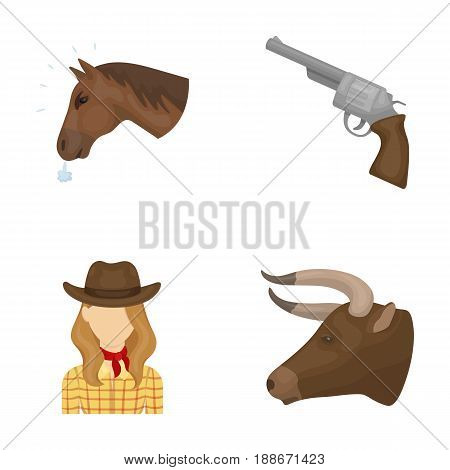 Head of a horse, a bull s head, a revolver, a cowboy girl.Rodeo set collection icons in cartoon style vector symbol stock illustration .