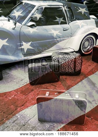Retro car and suitcases american vintage styled background